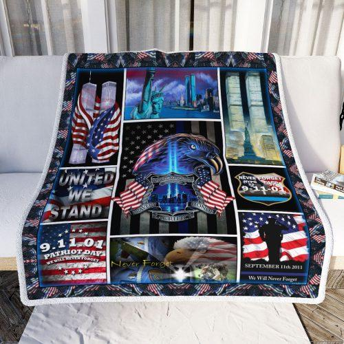 Police We Will Never Forget 9/11 Fleece Blanket - United We Stand