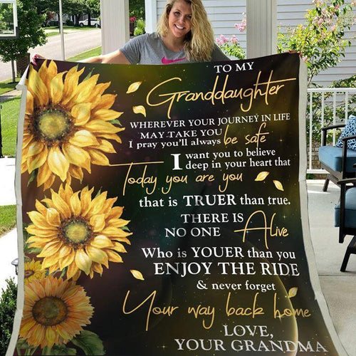 Sunflower balnket to my granddaughter - Gift for birthday, christmas from grandma - Never forget your way back home