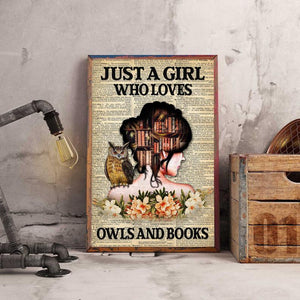Just A Girl Who Loves Owls and Books City Poster Canvas, Lady and Owl Wall Art Home Decor, Gift for Animal and Book Lover