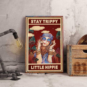 Stay Trippy Little Hippie Poster Canvas, Hippie Girl Vintage Wall Art Home Decor