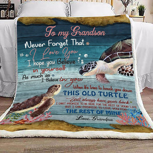 Blanket to my grandson - Turtle - GIft for birthday, christmas - I hope you believe in yourself