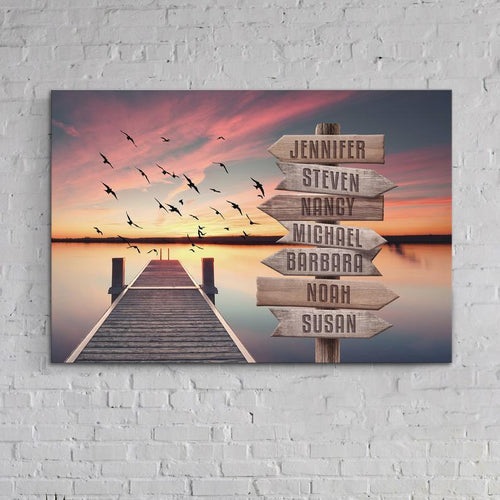 Personalized Canvas - Lake Dock Family canvas - Gift for family, Gift for friend - Canvas custom with member names multiple names