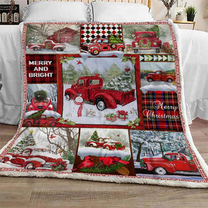 Red Truck Christmas Blanket, Xmas Holiday Blanket, Christmas Truck Blanket, Merry Christmas Gift, Home Family, Vintage Blanket - Anniversary Birthday Christmas Housewarming Gift Home Decor