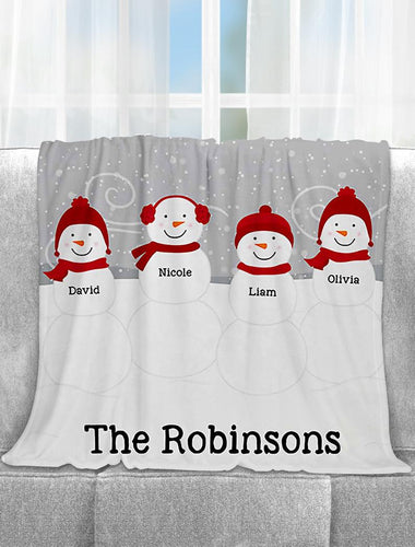 Snowman Christmas Blanket, Personalized Christmas , Personalized Grand Ma Gift , Personalized Snowman Family Blanket - Anniversary Birthday Christmas Housewarming Gift Home Decor