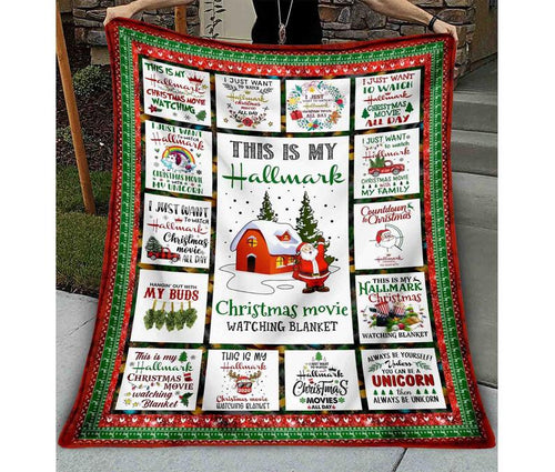 This Is My Hall-mark Blanket, Christmas Movie Watching Blanket, Merry Christmas Blanket, Cute Santa Claus Blanket, Gift for Christmas - Anniversary Birthday Christmas Housewarming Gift Home Decor