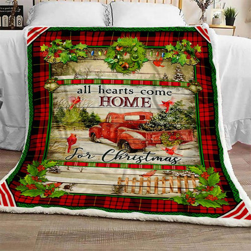 Cardinal All Hearts Come Home For Christmas Blanket, Vintage Red Truck Blanket, Cardinals Blanket, Merry Christmas Gift - Anniversary Birthday Christmas Housewarming Gift Home Decor