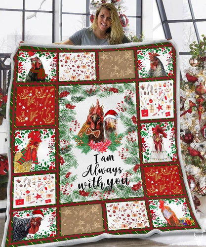 I Am Alway With You Blanket | Rooster Cardinal Blanket | Rooster Merry Christmas | Merry Christmas - Anniversary Birthday Christmas Housewarming Gift Home Decor
