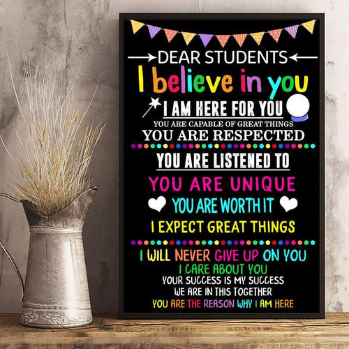 Teacher Poster Portrait Canvas Print for Motivation School Classroom Students Gift Science teaching Educator College Or Elementary Kids
