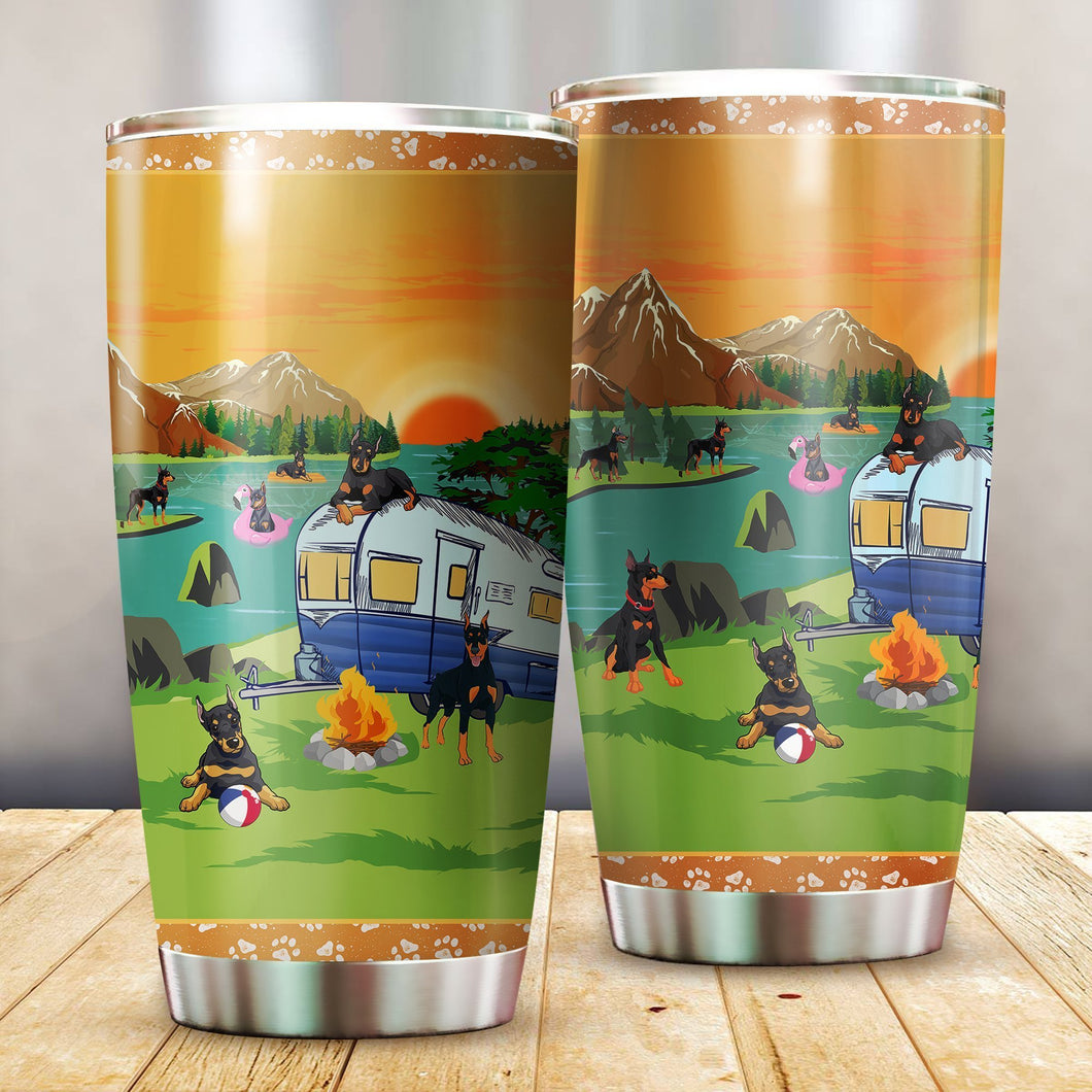 Doberman Pinscher Camping Stainless Steel Insulated Tumbler Cups