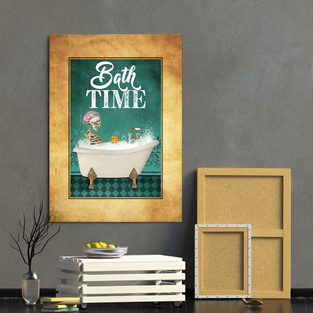 Bath Time Vintage Skeleton Wall Art Canvas - Anniversary, Birthday, Christmas gift - Funny Skull Bathroom Decor Halloween Day