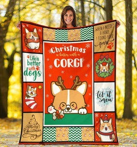 Dog Blanket Christmas Is Better With A Corgi Dog Lover Gifts Fleece Blanket
