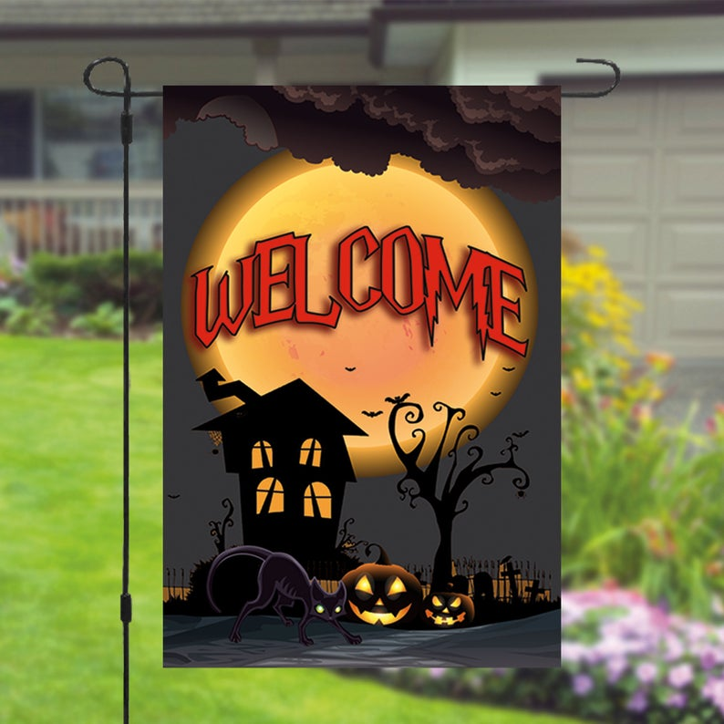 Happy Halloween Haunted House Pumpkin Garden Flag - Garden Flag House Flag