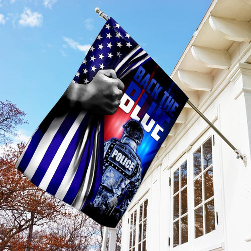 Police Law Enforcement. Back The Blue Flag - Double Sided Flag