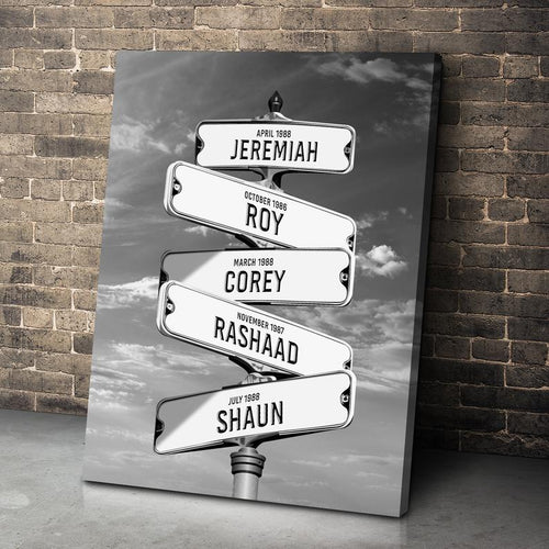 Personalized Street Sign Multi-Name Custom Canvas Wall Art - Anniversary, Birthday, Valentine, Christmas gift - Custom your names and date