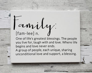 Family Definition on Canvas/Family Canvas Wall Decor/Cute Saying on Canvas - Anniversary, Birthday, Housewarming, Christmas gift