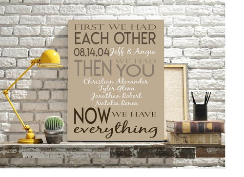 Now We Have Everything Family Sign- First We Had Each Other- Then We Had You- Custom Family Sign- Important Dates- Anniversary Gift