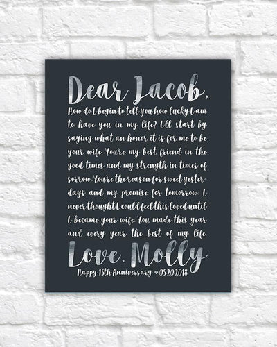 Anniversary Poem for Husband, Personalized Art Gift, Letter to Spouse, Romantic Words, 15th Anniversary, 20 Year, Poetry, Love Words