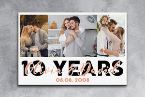 Wedding Anniversary Gift,10 Years Married, Gift for Wife or Husband,Present in 10th Anniversary,Collage Photo Canvas,Custom Anniversary Gift