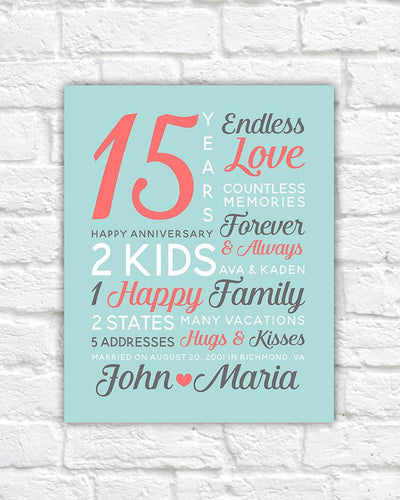 Personalized Anniversary Gifts, Wedding Date, Canvas Art, 15th Year Anniversary, 15th Anniversary, 25 years, Anniversary Mens