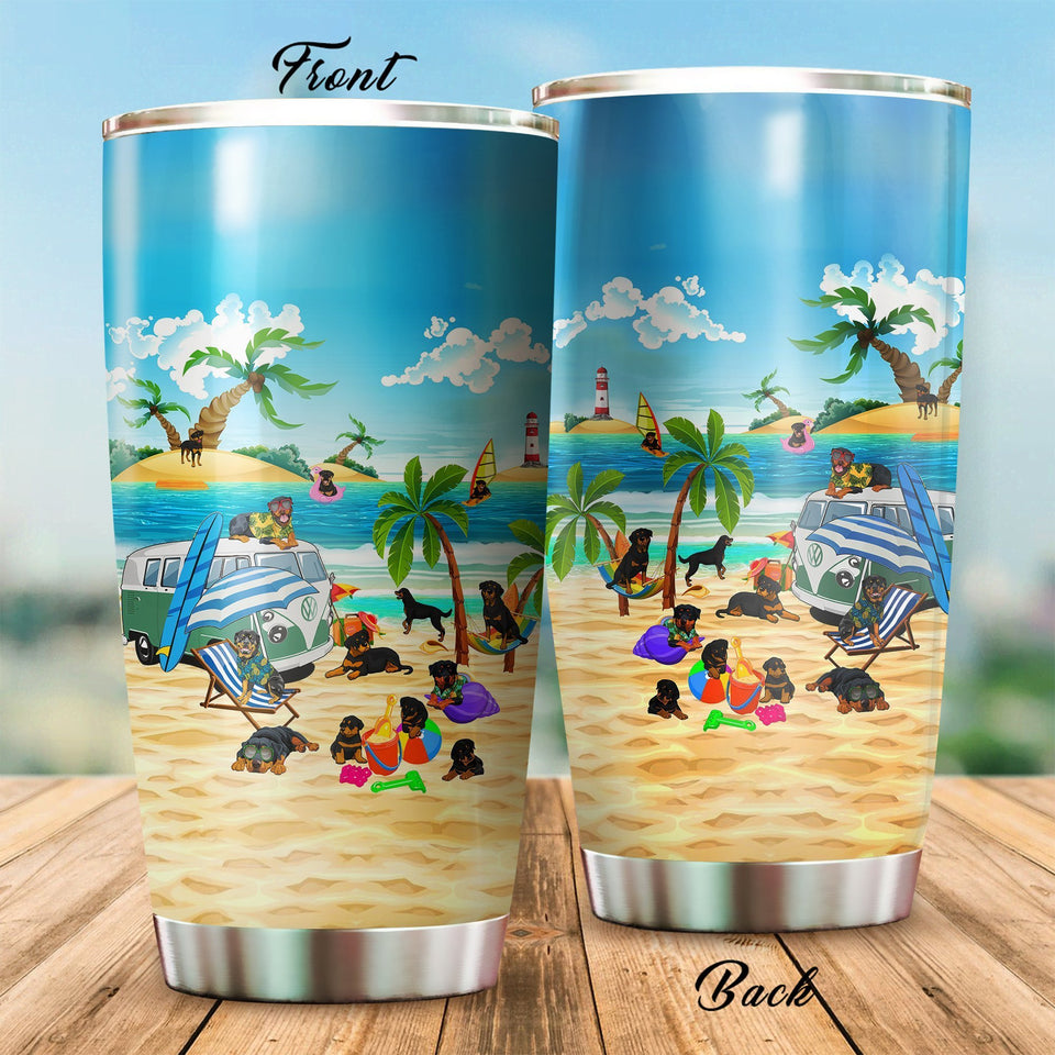 Rottweiler Camping Beach Stainless Steel Insulated Tumbler Cups