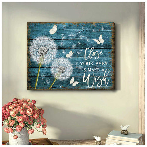 Dandelion and Butterfly Close your eyes and Make a wish Canvas Wall Art Decor - Anniversary Birthday Christmas Housewarming Gift Home Decor