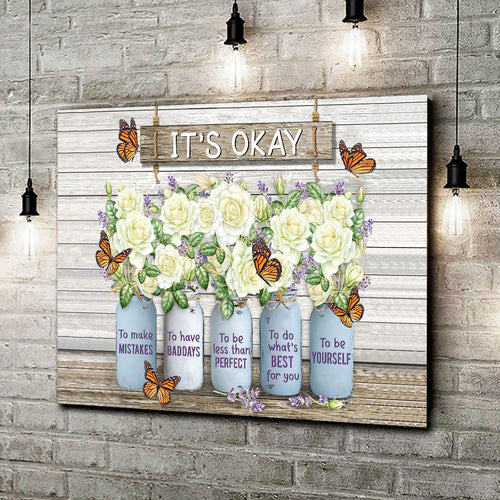 Monarch Butterfly Rose Mason Jar Canvas Wall Art Wall Decor It's okay to make mistakes - Anniversary Birthday Christmas Housewarming Gift Home Decor