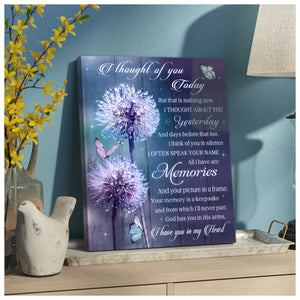 I Thought Of You Bereavement – Butterfly Canvas Wall Art - Anniversary Birthday Christmas Housewarming Gift Home Decor