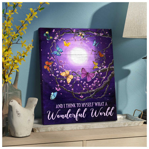 Wonderful World Butterfly Canvas Wall Art Decor – Butterfly Canvas - Anniversary Birthday Christmas Housewarming Gift Home Decor