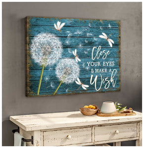 Close your eyes and Make a wish Canvas Wall Art – Dreagonfly Canvas - Anniversary Birthday Christmas Housewarming Gift Home Decor