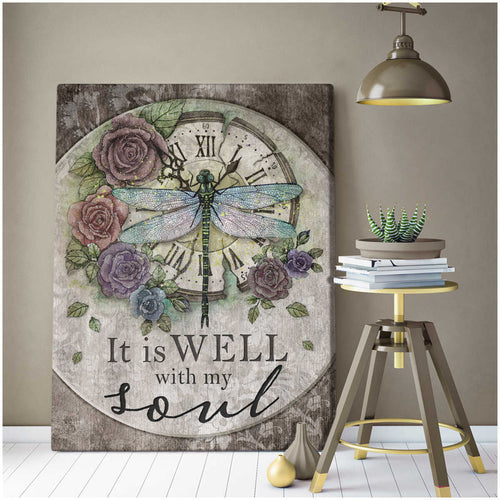 It Is Well With My Soul Wall Art Decor  – Dreagonfly Canvas - Anniversary Birthday Christmas Housewarming Gift Home Decor