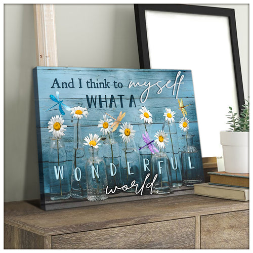 What a wonderful world Dragonfly Canvas Wall Art – Dreagonfly Canvas - Anniversary Birthday Christmas Housewarming Gift Home Decor