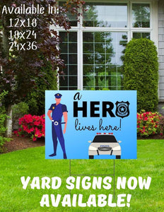 Dr Police Yard Sign. Digital or Printed Sign. Frontline Responder Yard Sign. Cop Digital File. Hero lives here Yard Sign. Outdoor Sign.