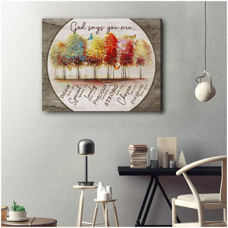 Butterfly Canvas Wall Art - God says you are Unique, Special, Lovely, Precious, Strong, Chosen, Forgiven
