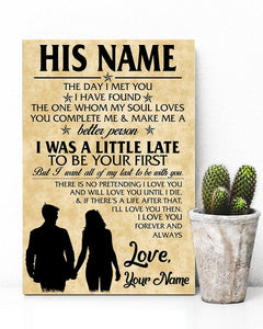 Customized I Love You Poster Portrait Canvas Print for Couple Wife Husband or Girlfriend Boyfriend Valentine's Day Wedding Anniversary Gift
