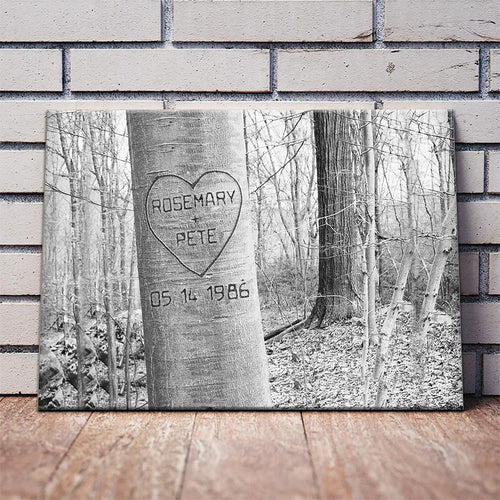 Personalized Unframed Carved Heart Art Canvas - Personal Customized Canvas Wall Art Home Decor Gifts 2020
