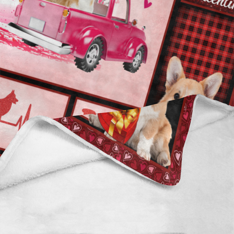 Dog Blanket Valentine's Day Gifts My Corgi Is My Valentine Corgi Dog Pink Truck Fleece Blanket