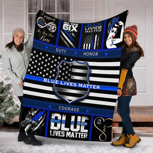 Custom Blanket Police Blue Lives Matter Blanket - Fleece Blanket