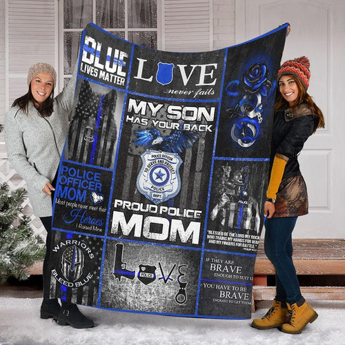 Custom Blanket Police Blanket - Gift For Mom - Fleece Blanket