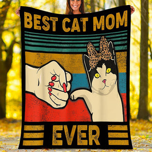 Custom Blanket Vintage Best Cat Mom Ever Fist Bump Blanket - Fleece Blanket