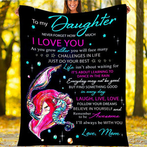 Custom Blanket Mermaid To My Daughter Blanket - Gift For Daughter - Fleece Blanket