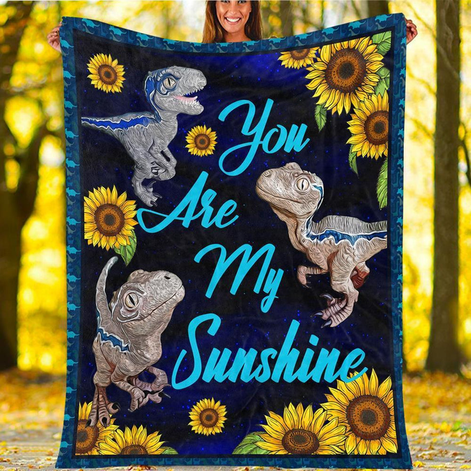 Custom Blanket Sunflower Dinosaur Blanket - Gift For Kids - Fleece Blanket