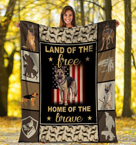 Dog Blanket Land Of The Free Home Of The Brave German Shepherd Police Dog American USA Flag Fleece Blanket