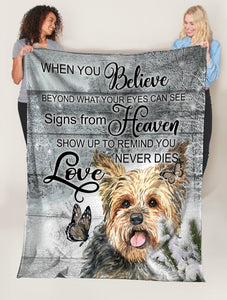 Dog Blanket Yorkshire Dog When You Belive Beyond What Your Eyes Can See Fleece Blanket
