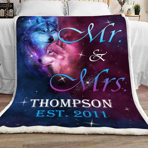 Personalized Wife Husband Wolf Blanket - Mr. & Mrs With Last Name & Anniversary Date Fleece Blanket