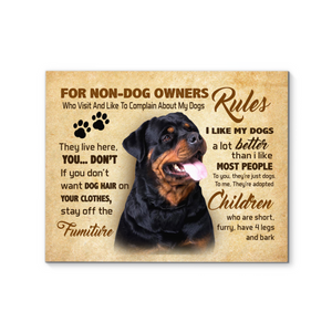 Rottweiler Rules For Non Dog Owners Canvas Prints Wall Art