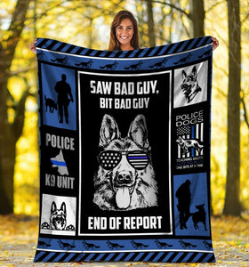Dog Blanket Saw Bad Guy Big Bad Guy German Shepherd Police Dog Fleece Blanket