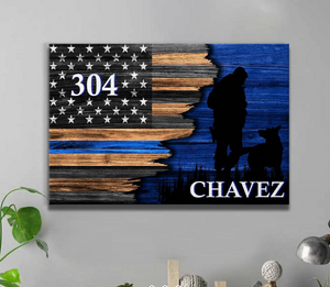 Half Flag - Police Officer Vs K9 Unit Unit - Personalized Canvas