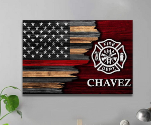 Personalized Canvas - Half Flag - Firefighter Emblem - CTM
