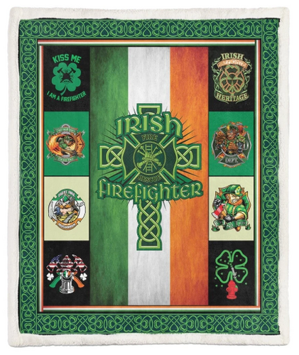 Soft Blanket St Patrick Day Firefighters