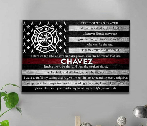 Personalized Canvas - Thin Red Line Flag - Firefighter Prayer - CTM